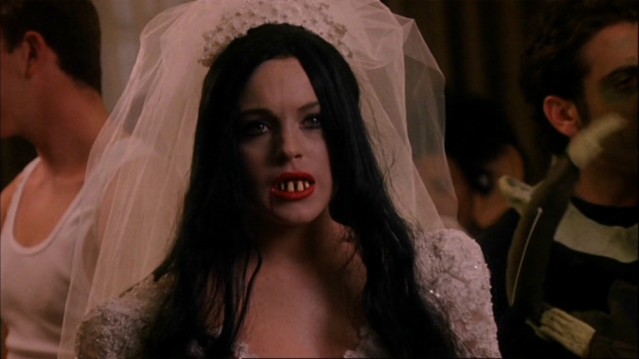 """Still of Cady Heron from Mean Girls at Halloween party dressed as an """"ex-wife"""""""