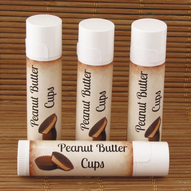 Peanut butter cup-flavored lip balm tubes