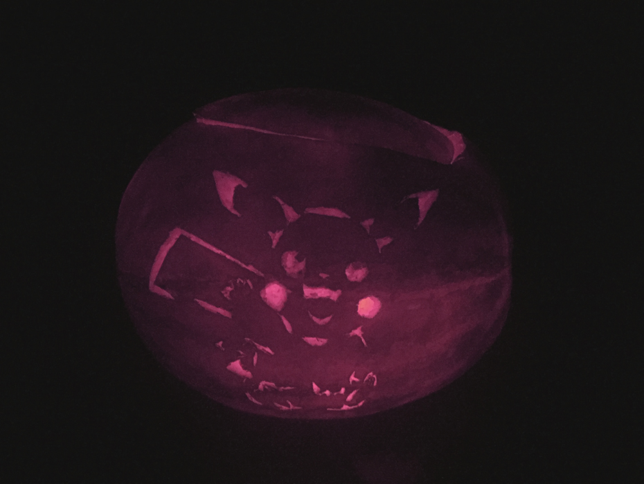 Lit up Pikachu carved Halloween watermelon