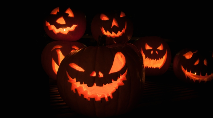 Lit up jack o'lanterns