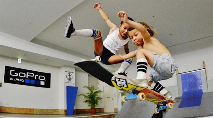 Sky and Ocean Brown skateboarding