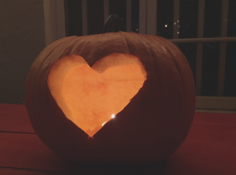 Pumpkin carved with a heart