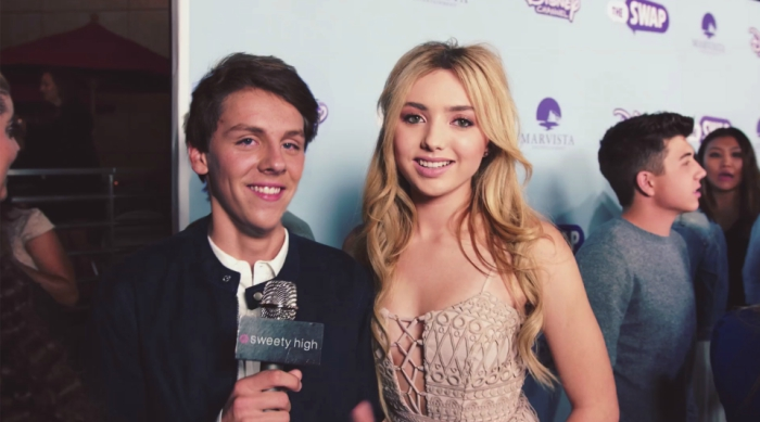 Peyton List and jacob bertrand at the swap premiere