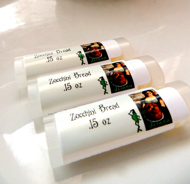 Zucchino bread-flavored lip balm tubes