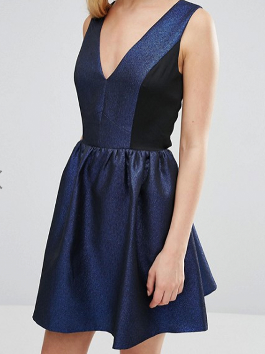 ASOS navy glitter dress
