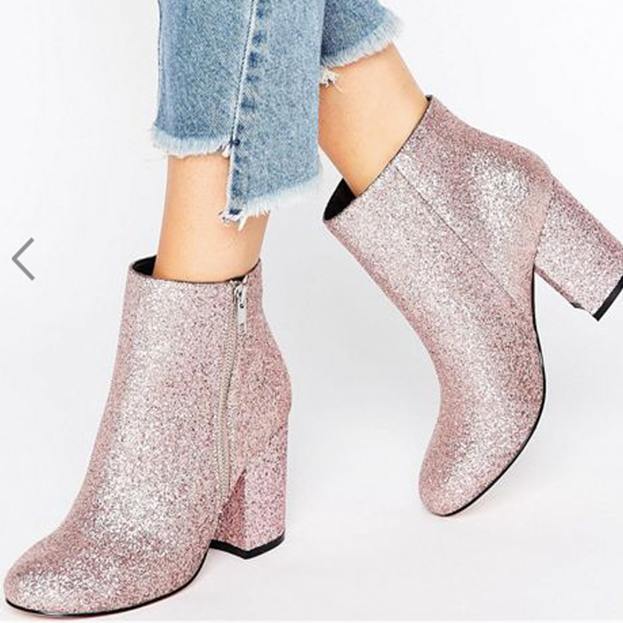 ASOS pink glitter booties