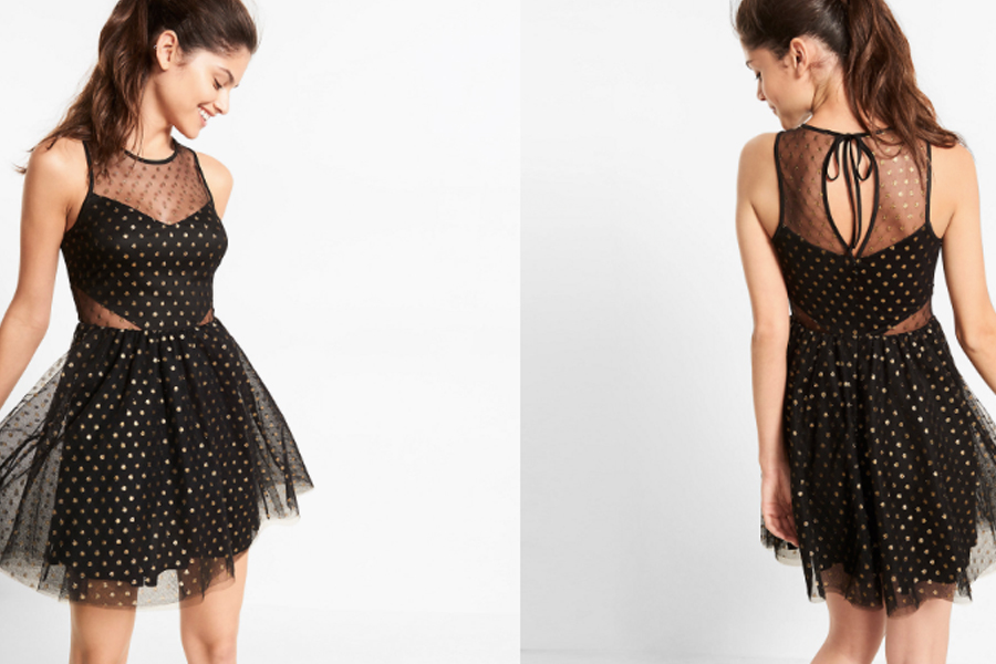 Express glitter gold polka dot dress