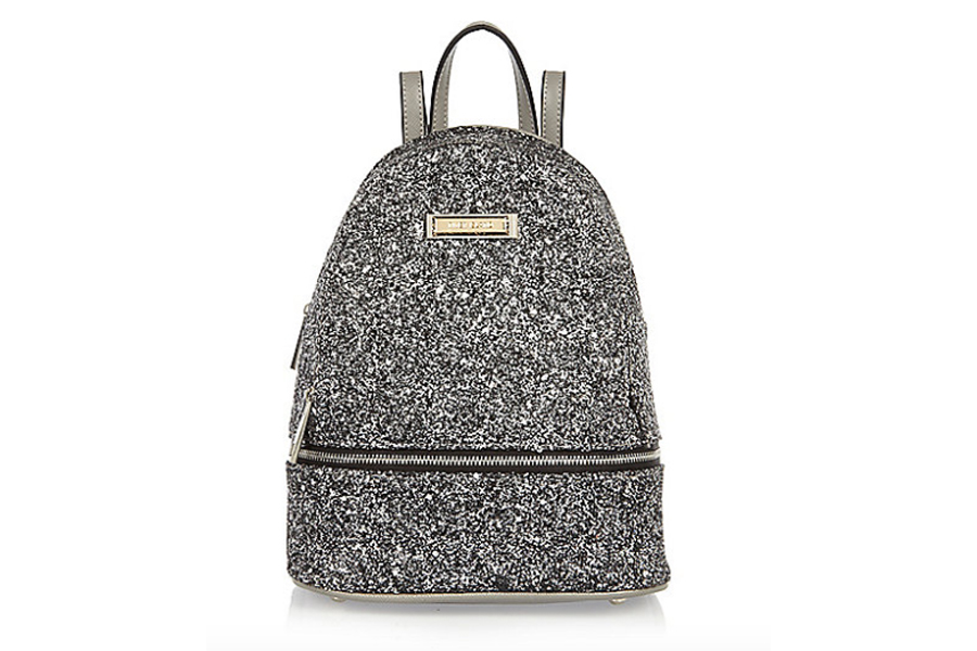 Gray glitter backpack
