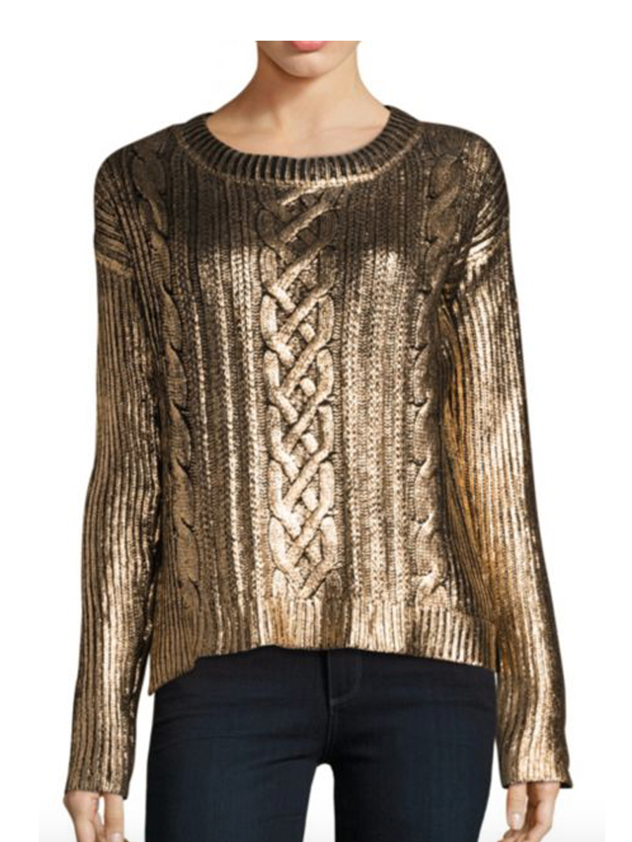 Gold leaf foil glitter sweater