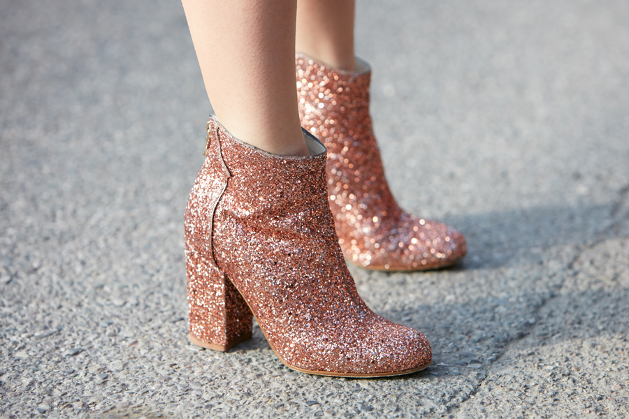 Pink glitter booties with chunky heel