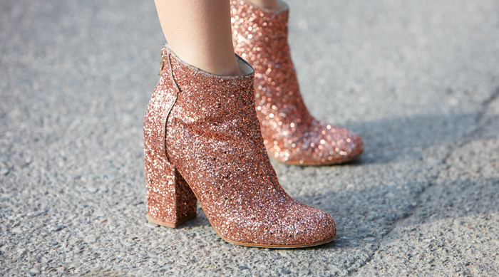 Pink glitter booties with zipper