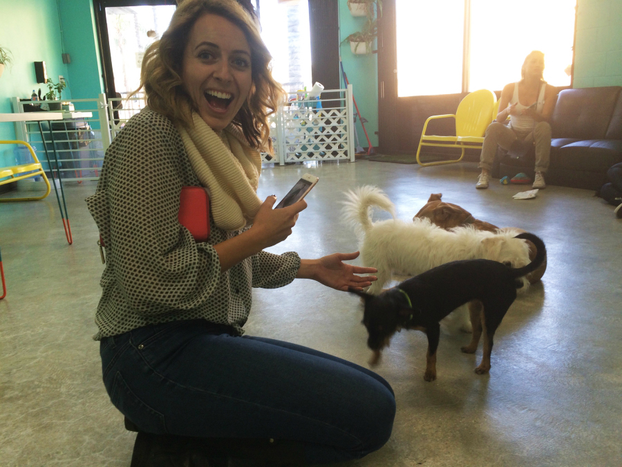 Brittney at America's first dog cafe