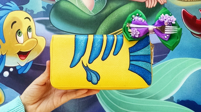 The Little Mermaid Flounder hand-painted wallet