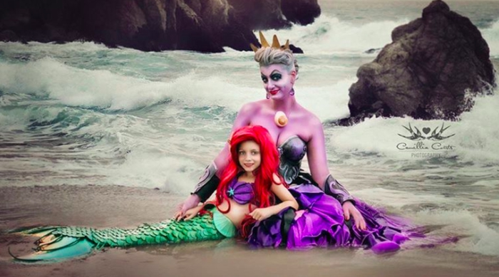 Mother and daughter cosplaying as Ursula and Ariel from Disney's 'The Little Mermaid'