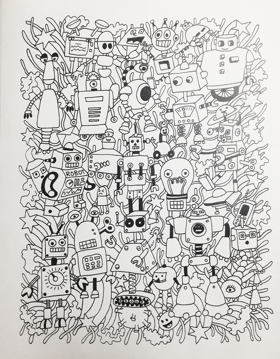Monster Doodles coloring book: robots and other monsters in black and white