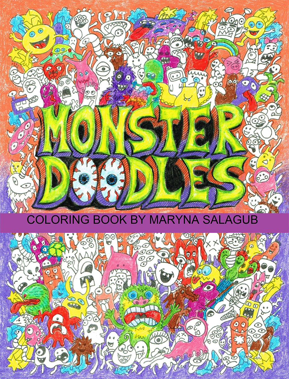 Monster Doodles coloring book cover