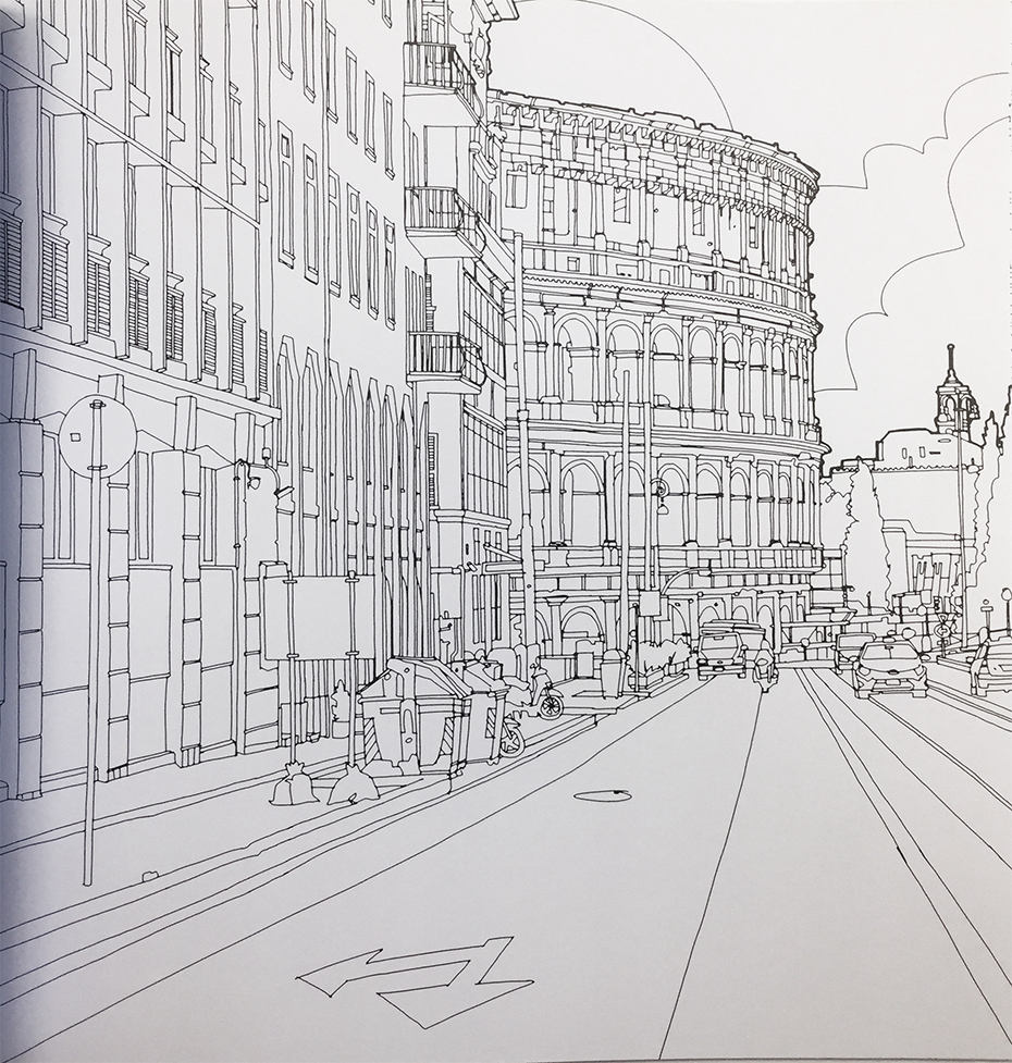 Fantastic Structures coloring book: black and white landscape on street
