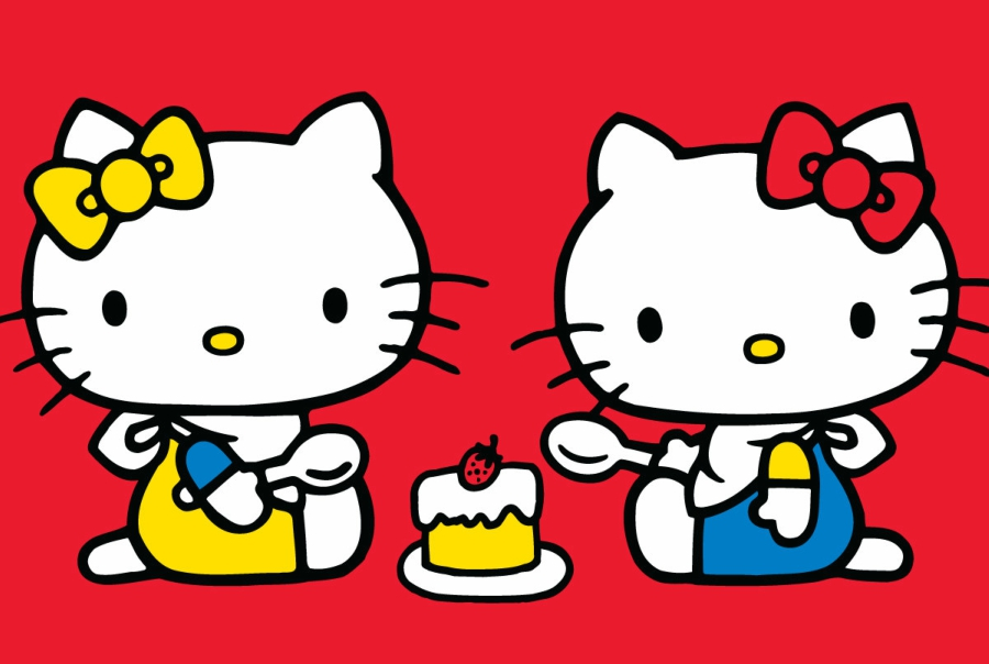 Hello Kitty and her twin sister Mimmy sharing a piece of cake