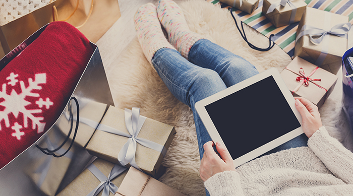 Holiday shopping on a tablet