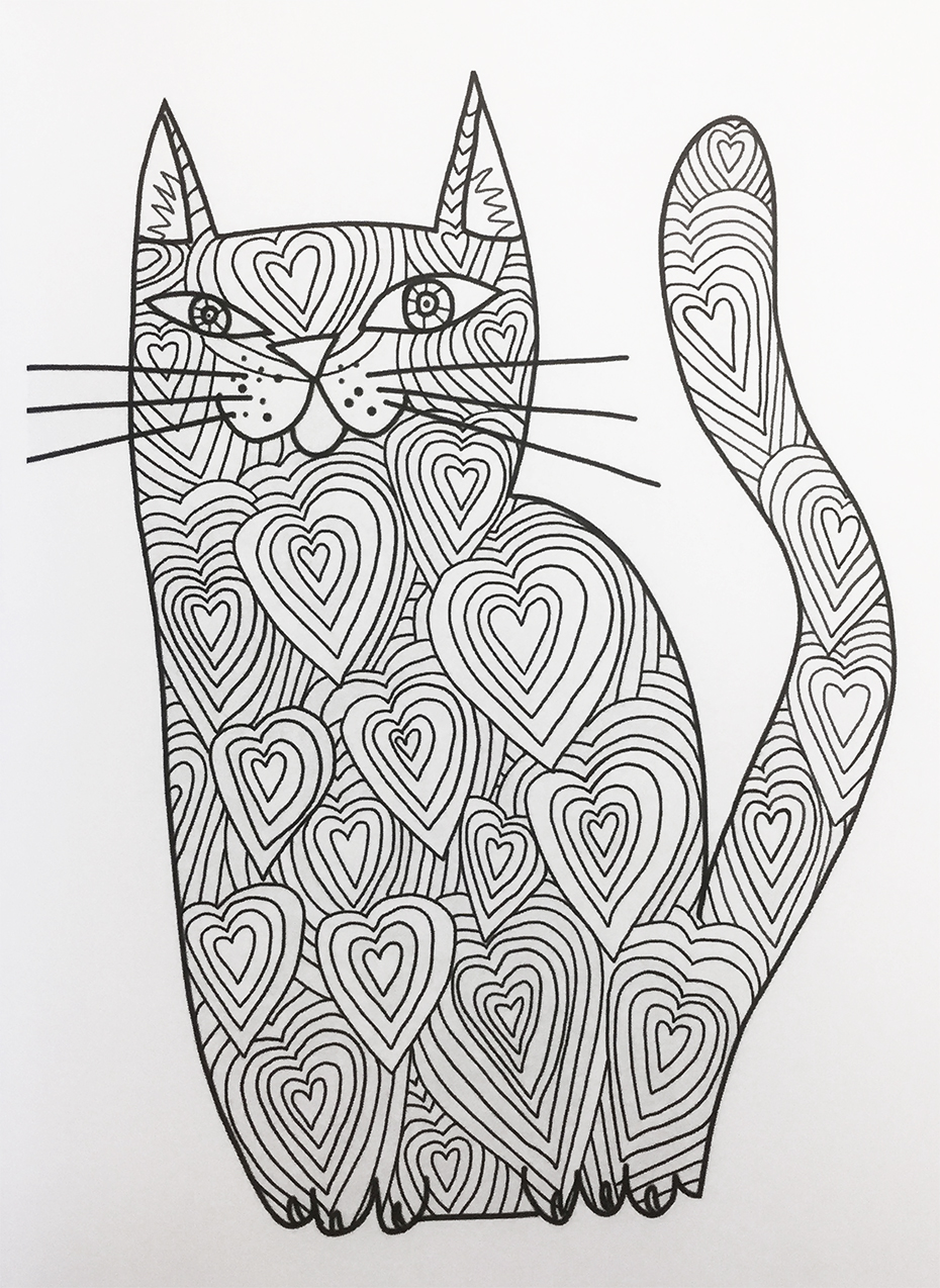 Kitty's Cat coloring book: cat with hearts pattern in black and white