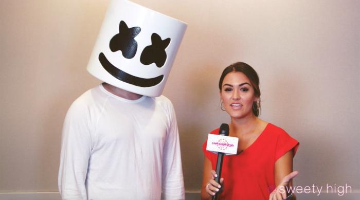 DJ Marshmello being interviewed