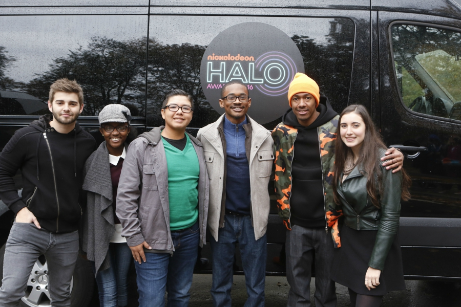 Honorees and Nick Cannon getting ready for the 2016 Nickelodeon Halo Awards