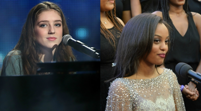 Singers Birdy and Ruth B. playing the piano