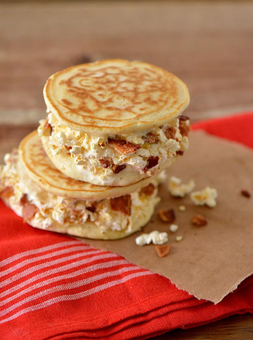 popcorn pancake ice cream sandwich with bacon