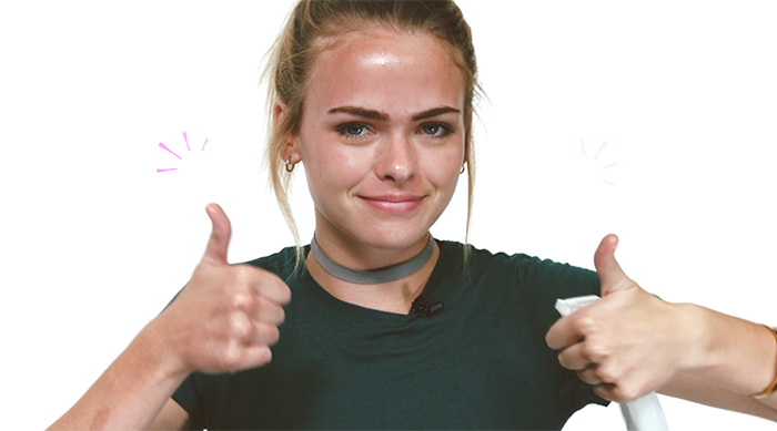 Summer McKeen giving two thumbs up