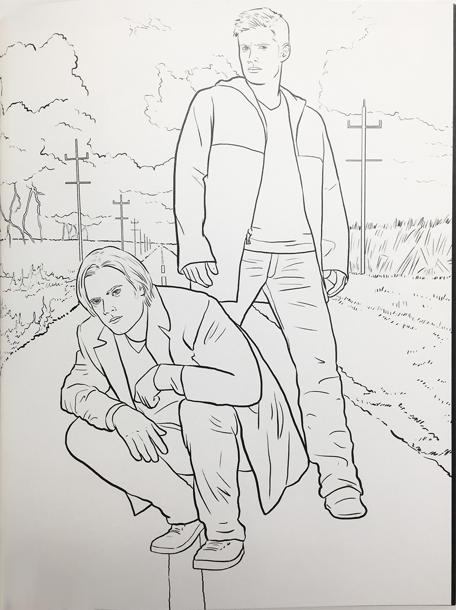 Supernatural coloring book: Dean and Sam in black and white