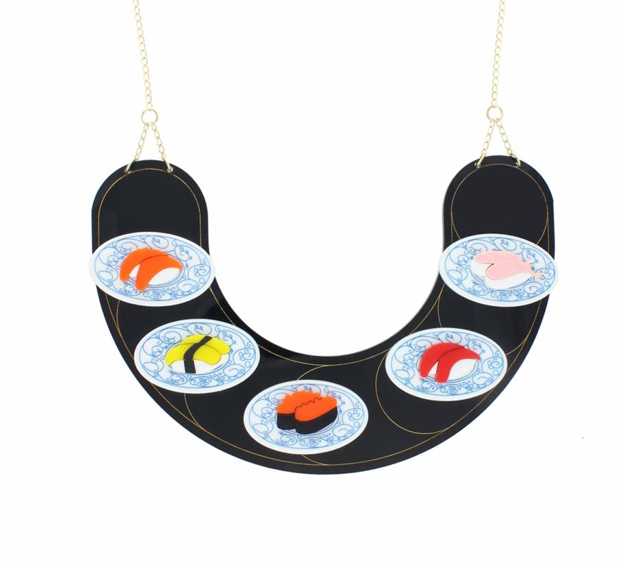 Sushi conveyer belt necklace from La Vidriola