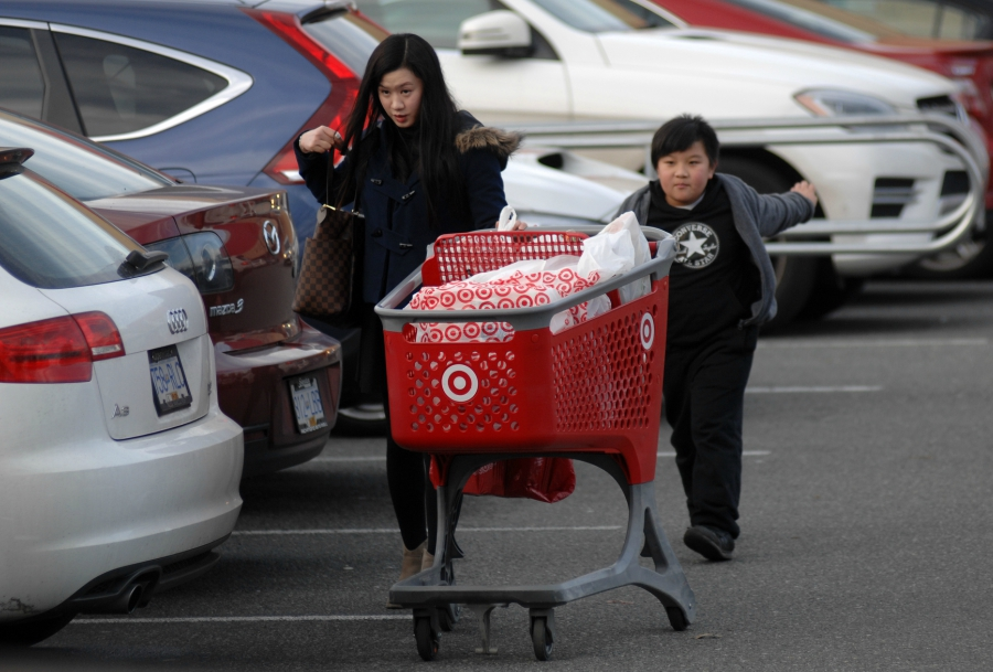 Two people shopping at Target