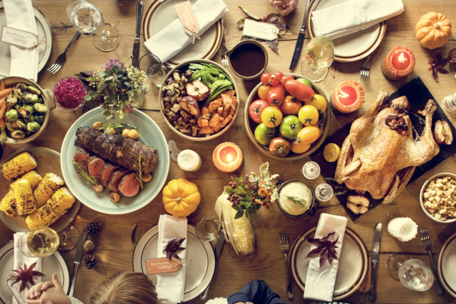Thanksgiving dinner spread on table