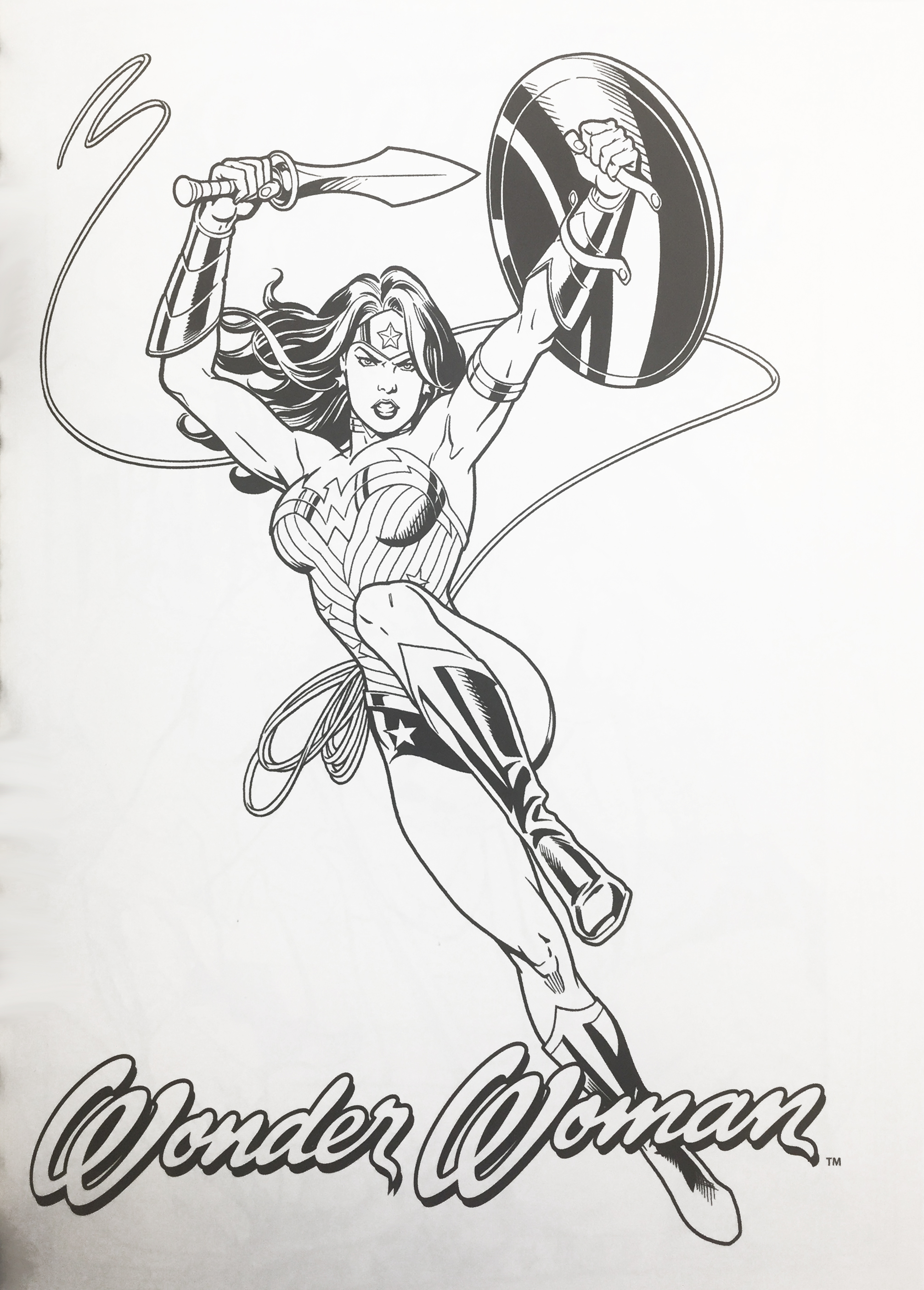 Wonder Woman Coloring Book cover page in black and white