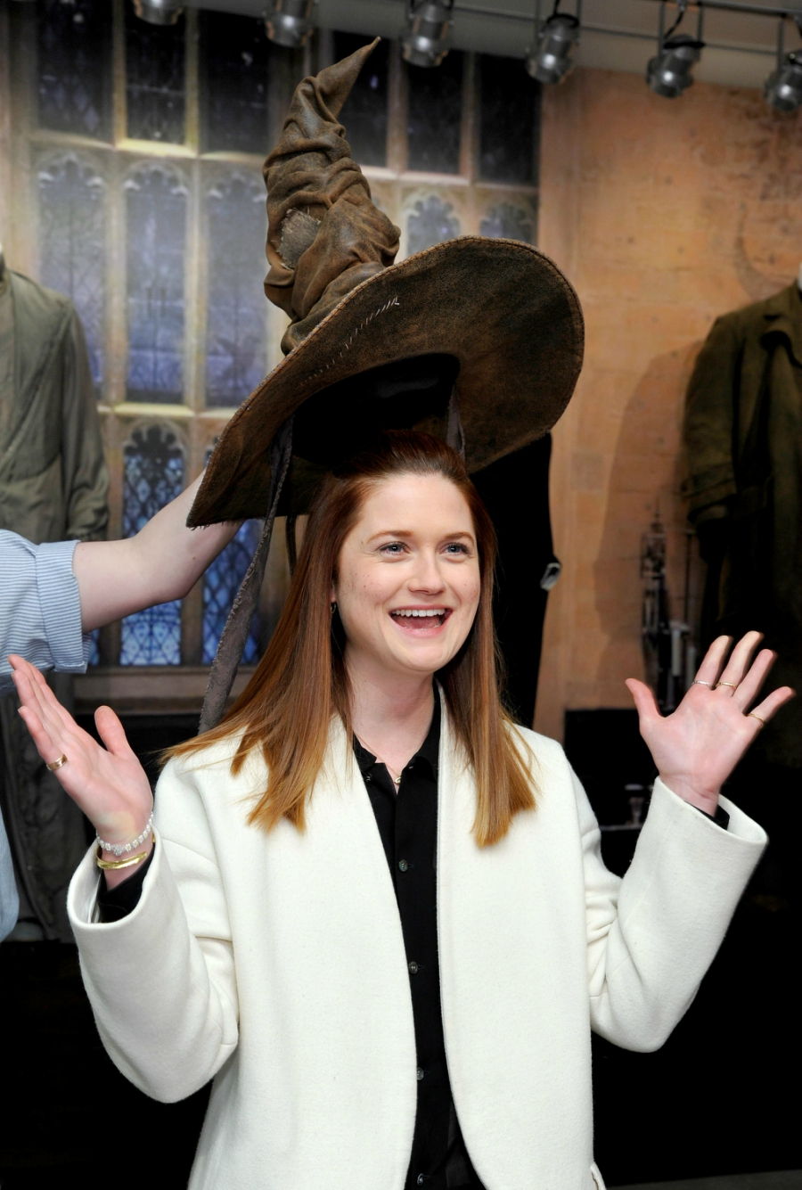 Bonnie Wright putting on the sorting hat