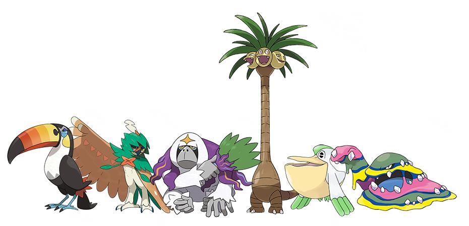 Sweety High writer Amanda's Pokémon Moon Team: Toucannon, Dedicueye, Oranguru, Eceggutor, Pelipper and Muk