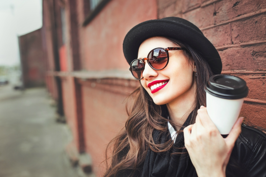 Girl with red lipstick smiling