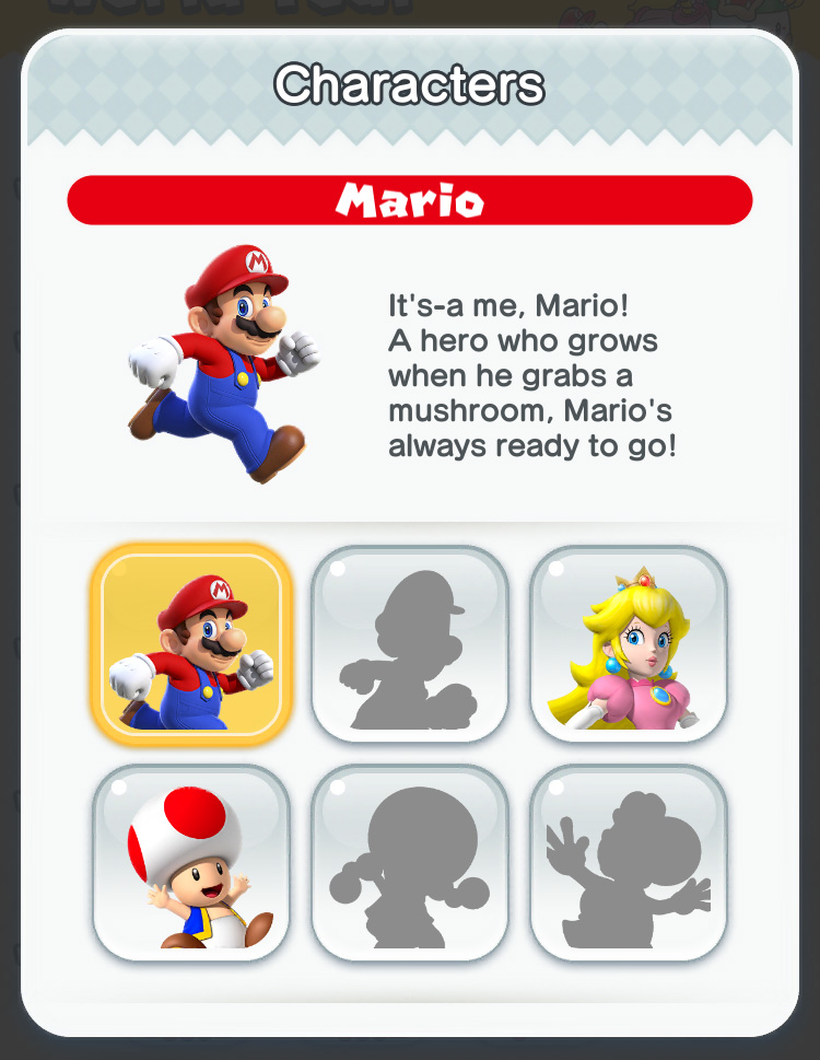 Super Mario Run: character selection page