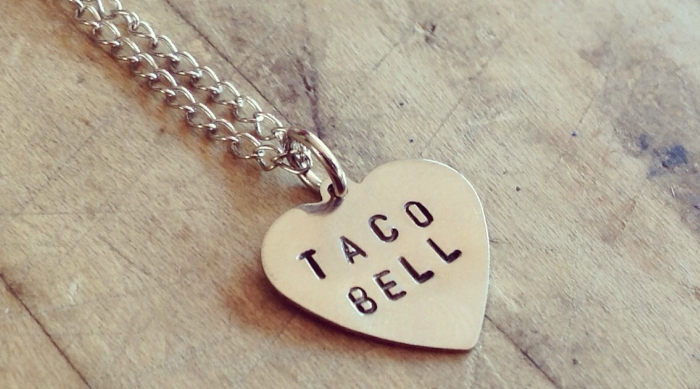 Taco Bell heart necklace