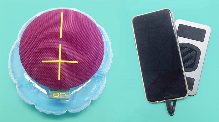 UE Roll 2 speaker and MagicMount PowerBank charger