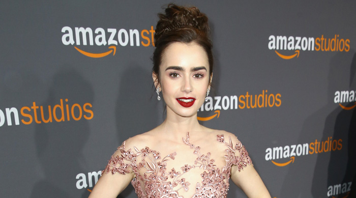 Lily Collins pink gown and makeup at Golden Globes