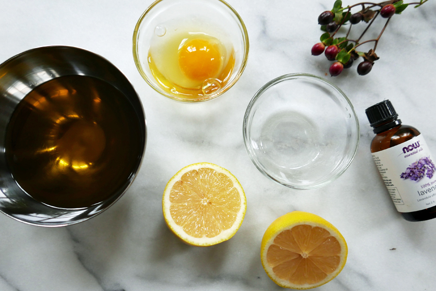 Mask 4 ingredients olive oil lavender water lemon and egg