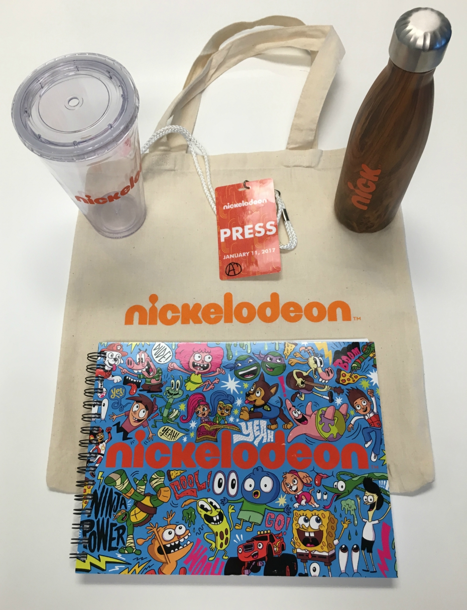 gift bag from our visit to Nickelodeon Animation Studios