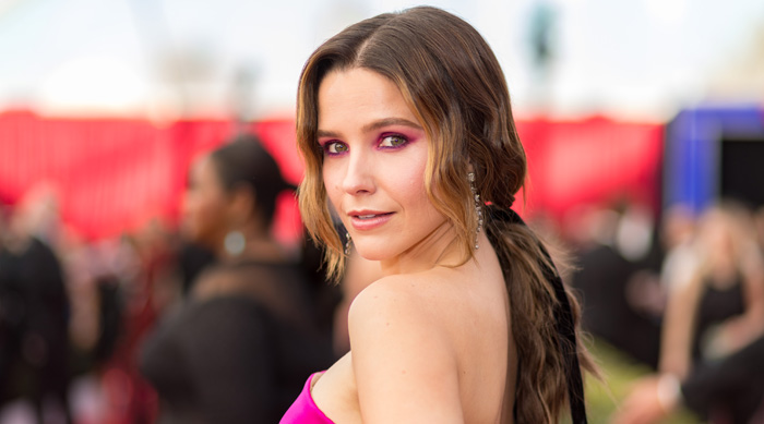 Sophia Bush wearing pink eyeshadow and a low pony tail