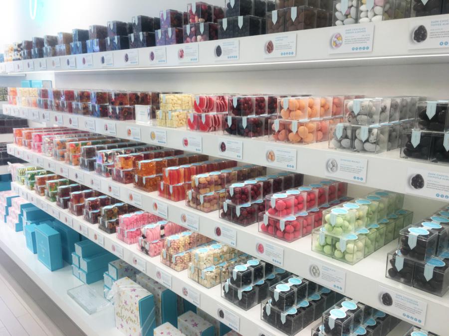 Candy shelves at Sugarfina