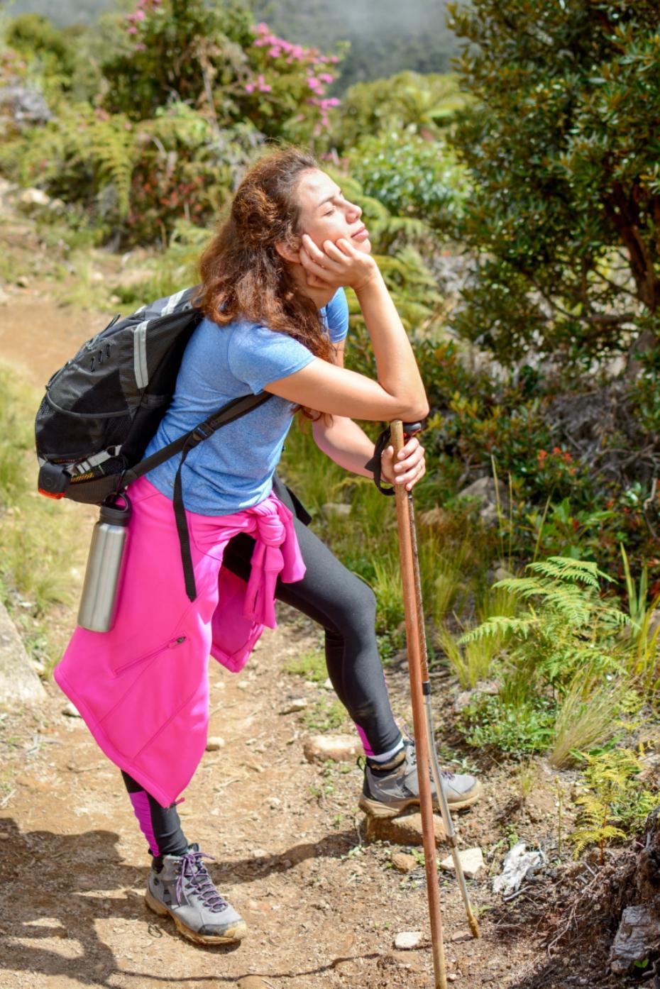 tired girl goes hiking