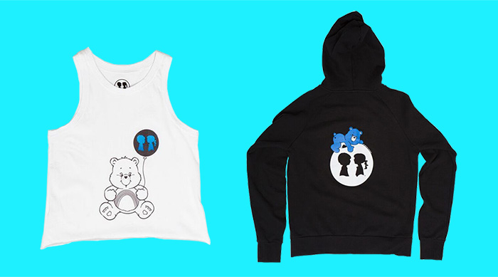 Care Bears Boy Meets Girl collab tank and hoodie