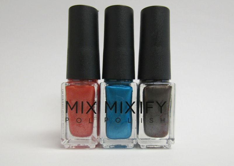 Orange, blue and grey nail polish colors