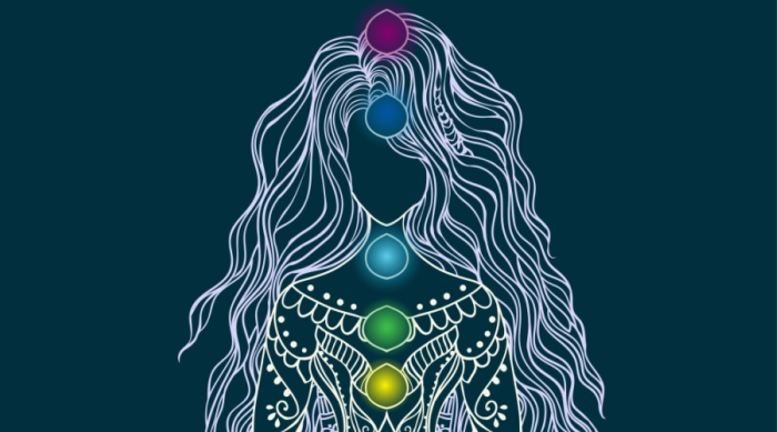 Drawing of a female and her chakra