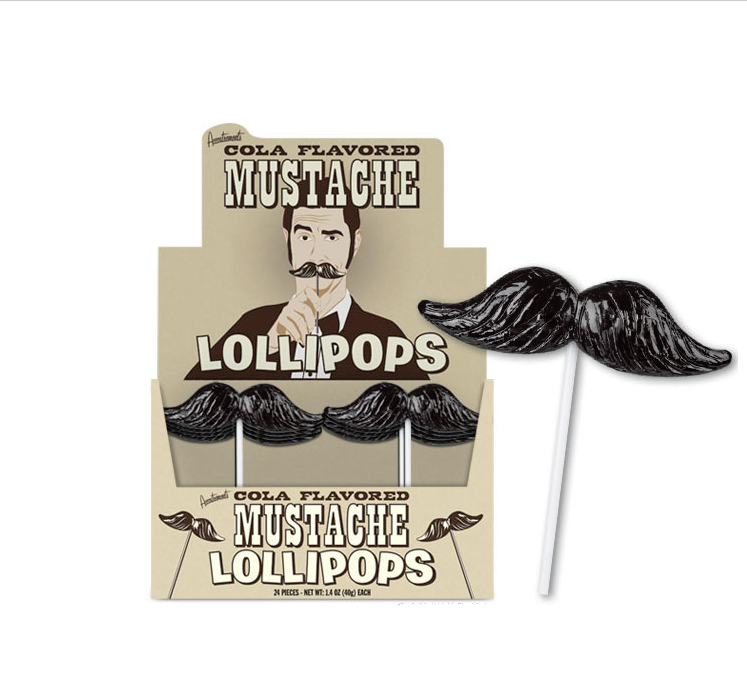 mustache lollipops